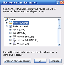 Destination du dossier d'extraction