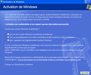 Activation de windows