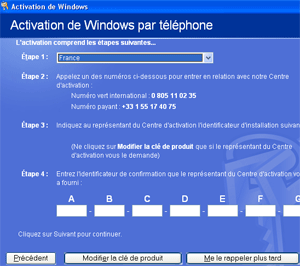 Activation de windows par téléphone