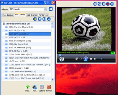Match de football tv sur internet avec sopcast