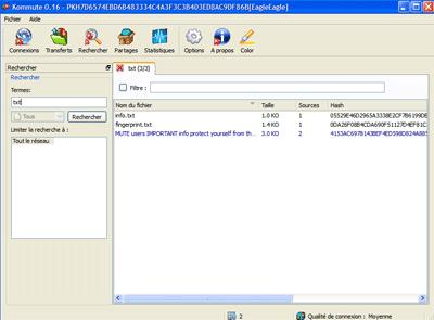 recherche d'un fichier sous kommute