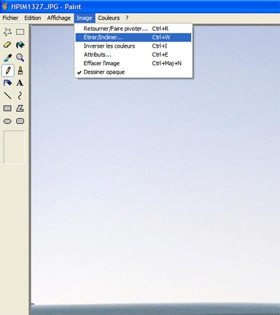 Ouvrir le menu pou étirer une image