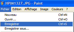 Menu enregistrer paint