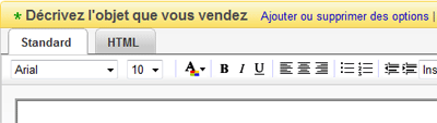 Interface de description d'objet ebay