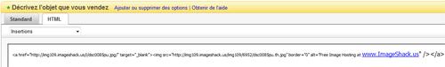 Onglet html ebay