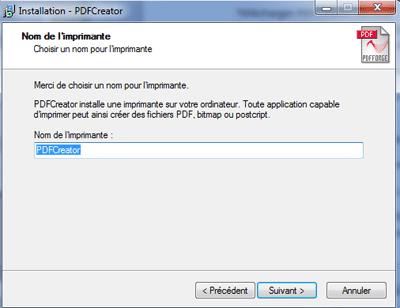 Nom d'installation de pdfcreator
