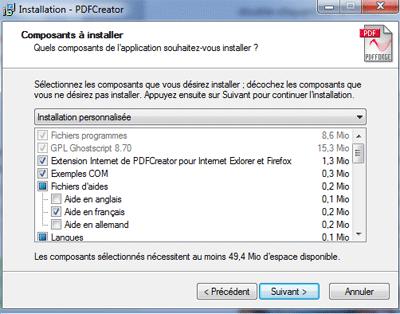 Installation des composants pdfcreator