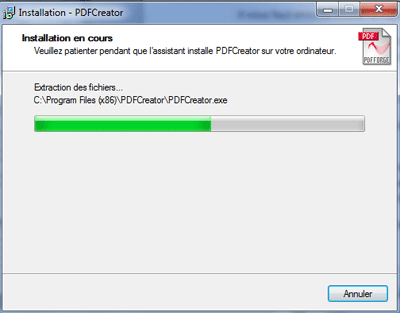 Progression de l'installation de pdfcreator